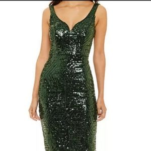 Bisou bisou green sequin party dress